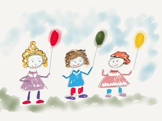 Zeichnung Kinder mit Luftballons