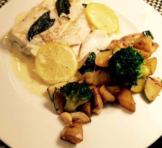 Kabeljau-Loin mit Kartoffelpfanne und Beurre blanc
