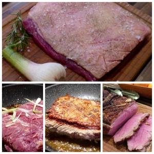 Roastbeef vorbereitet, angebraten und fertig aufgeschnitten, hmmmm