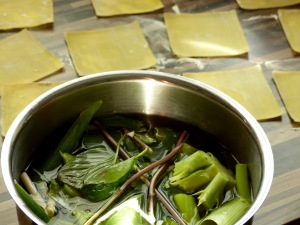 Dampfgartopf mit Gemüseresten